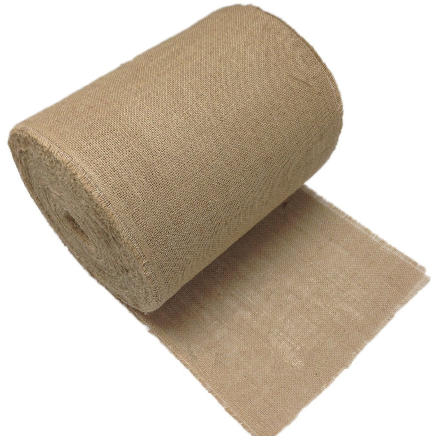 "14"" 50 Yard Sewn Edge Burlap Roll with Frayed Edges"