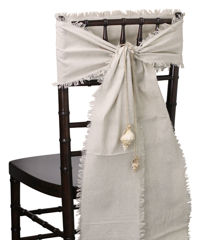 "Linen Chair Sashes - Fringed Edges (8"" x 108"")"