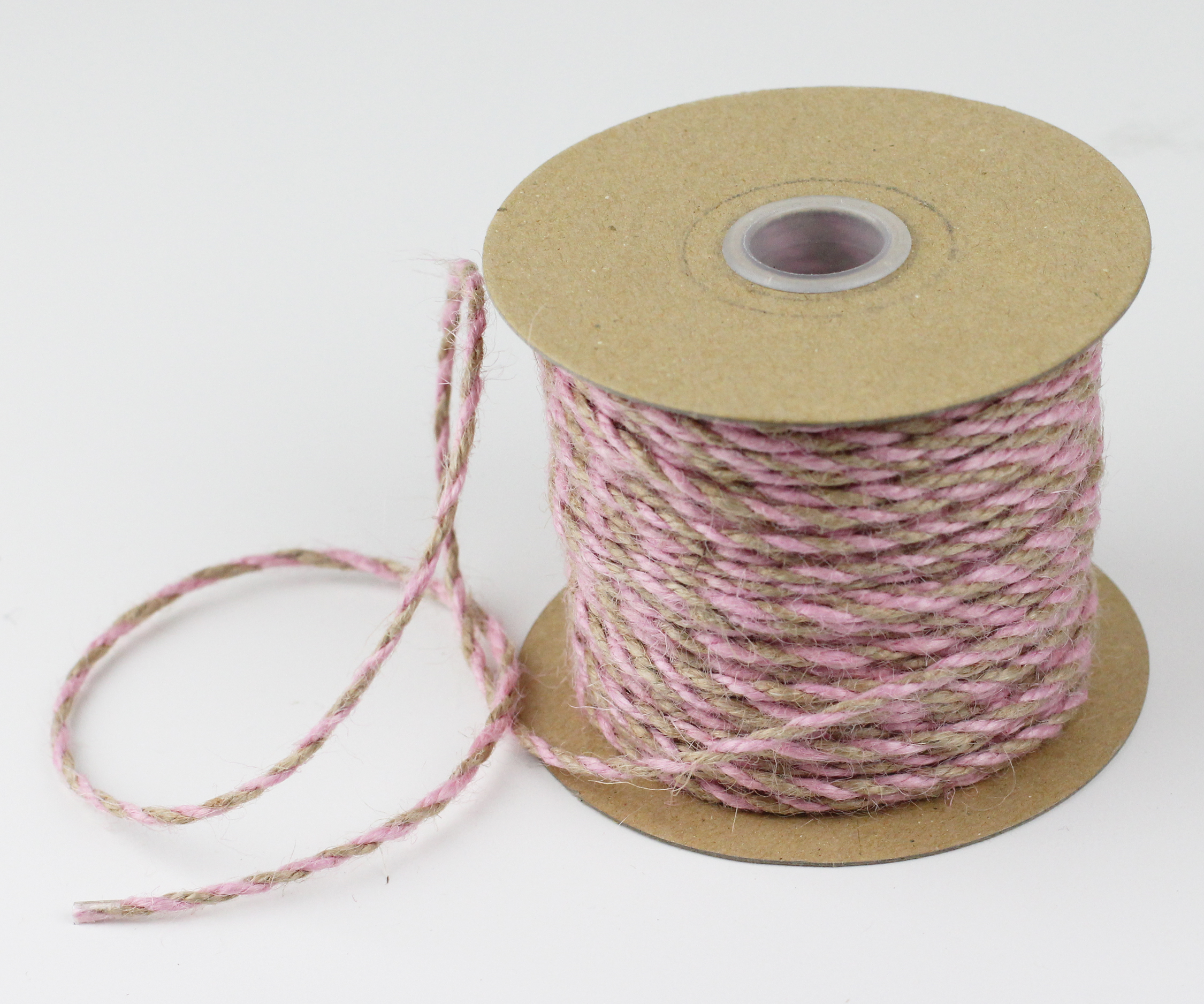 2.5 mm Pink/Natural Jute Twine - 50 Yards