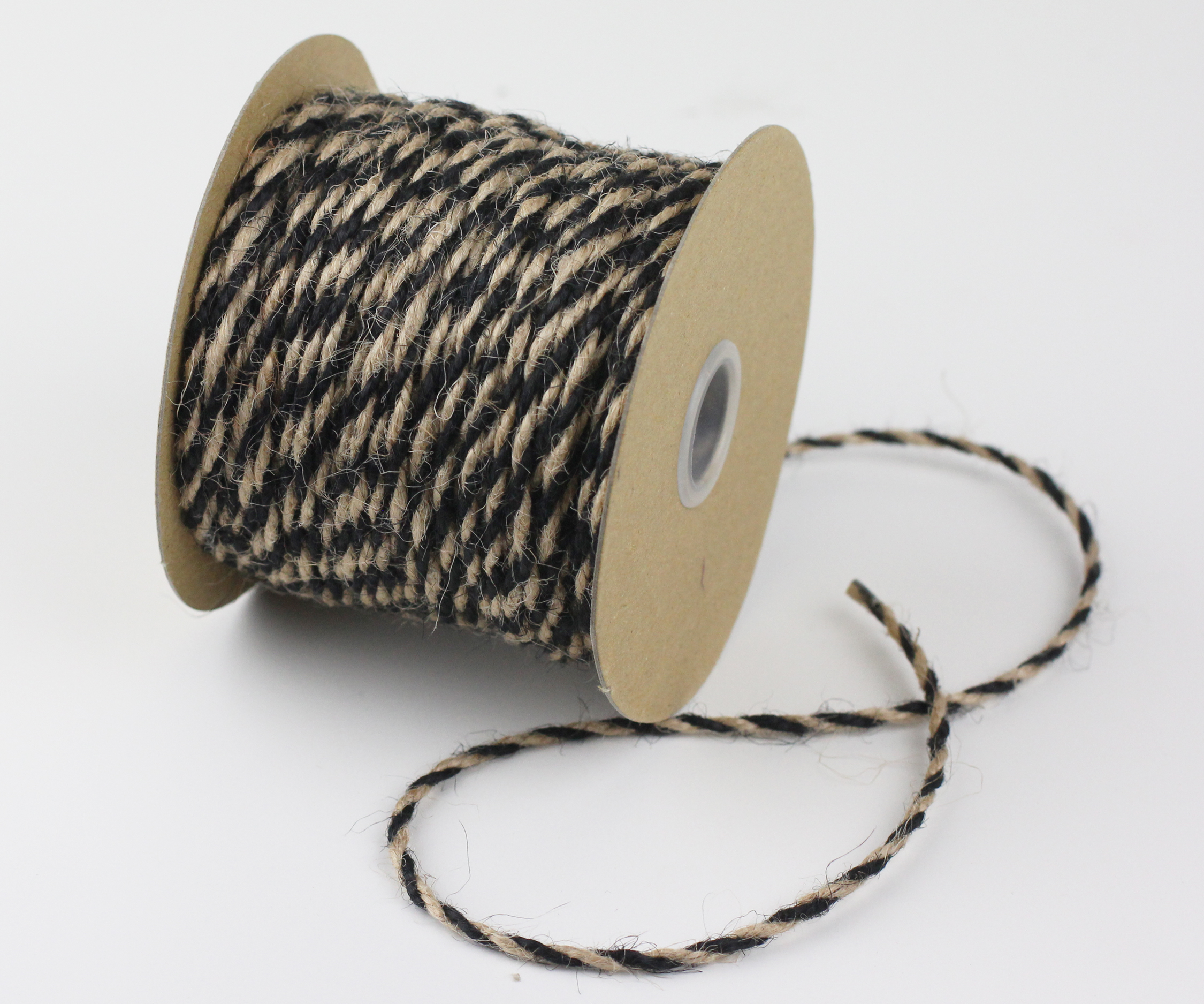 2.5 mm Black/Natural Jute Twine - 50 Yards