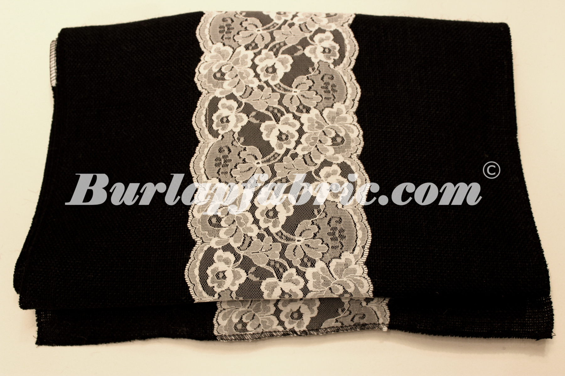 "14"" Black Burlap Runner with 6"" White Lace"