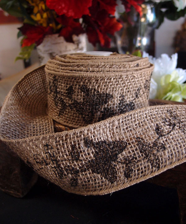 "2.5"" Natural Wired Burlap Ribbon Black Butterfly Print 10 Yards"