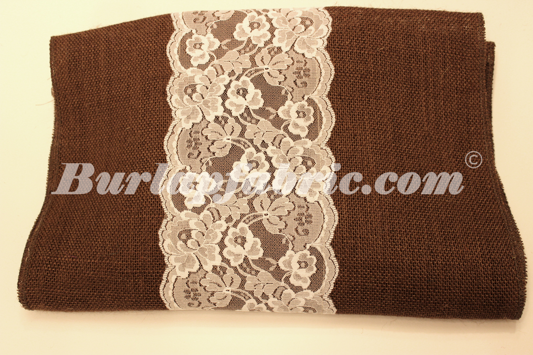 "14"" Brown Burlap Runner with 6"" White Lace"