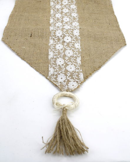 "Burlap Runner With Lace Trim and Tassels - 12"" x 84"""