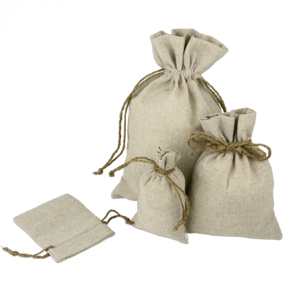 Linen Bags with Jute Drawsting
