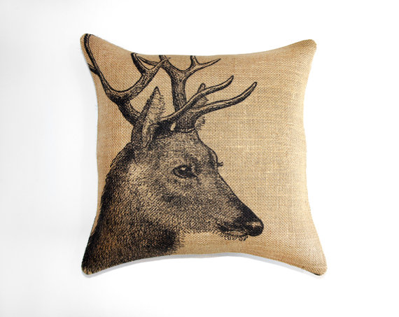 Deer Burlap Pillow Case - 18 x 18