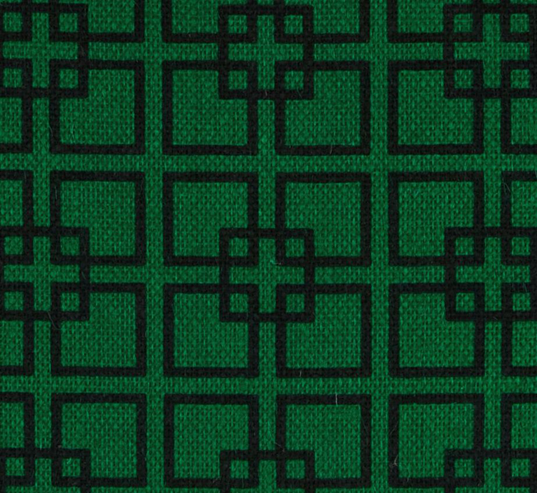 "60"" Emerald Geometric Burlap By The Yard"