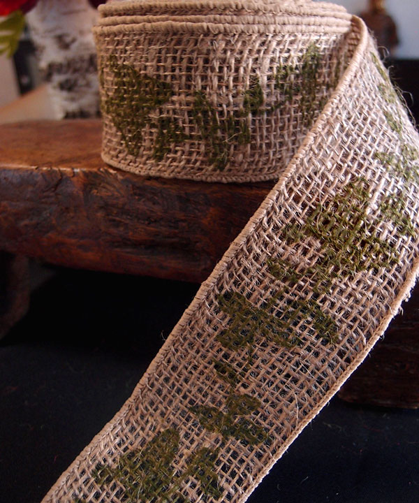 "2.5"" Natural Wired Burlap Ribbon Green Butterfly Print 10 Yards"