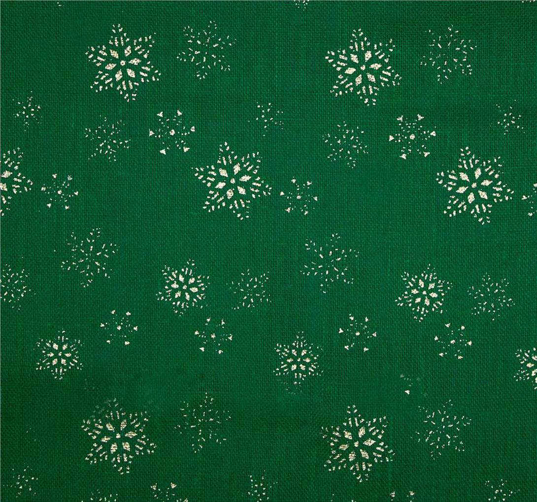 "Emerald Snowflake Glitter Burlap 60"" wide by the Yard"