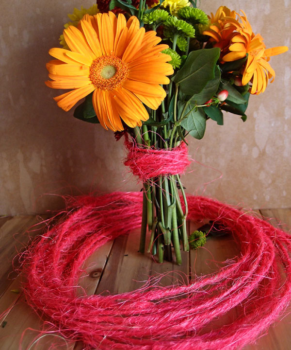 Wired Hot Pink Sisal Twine - 10 Meters