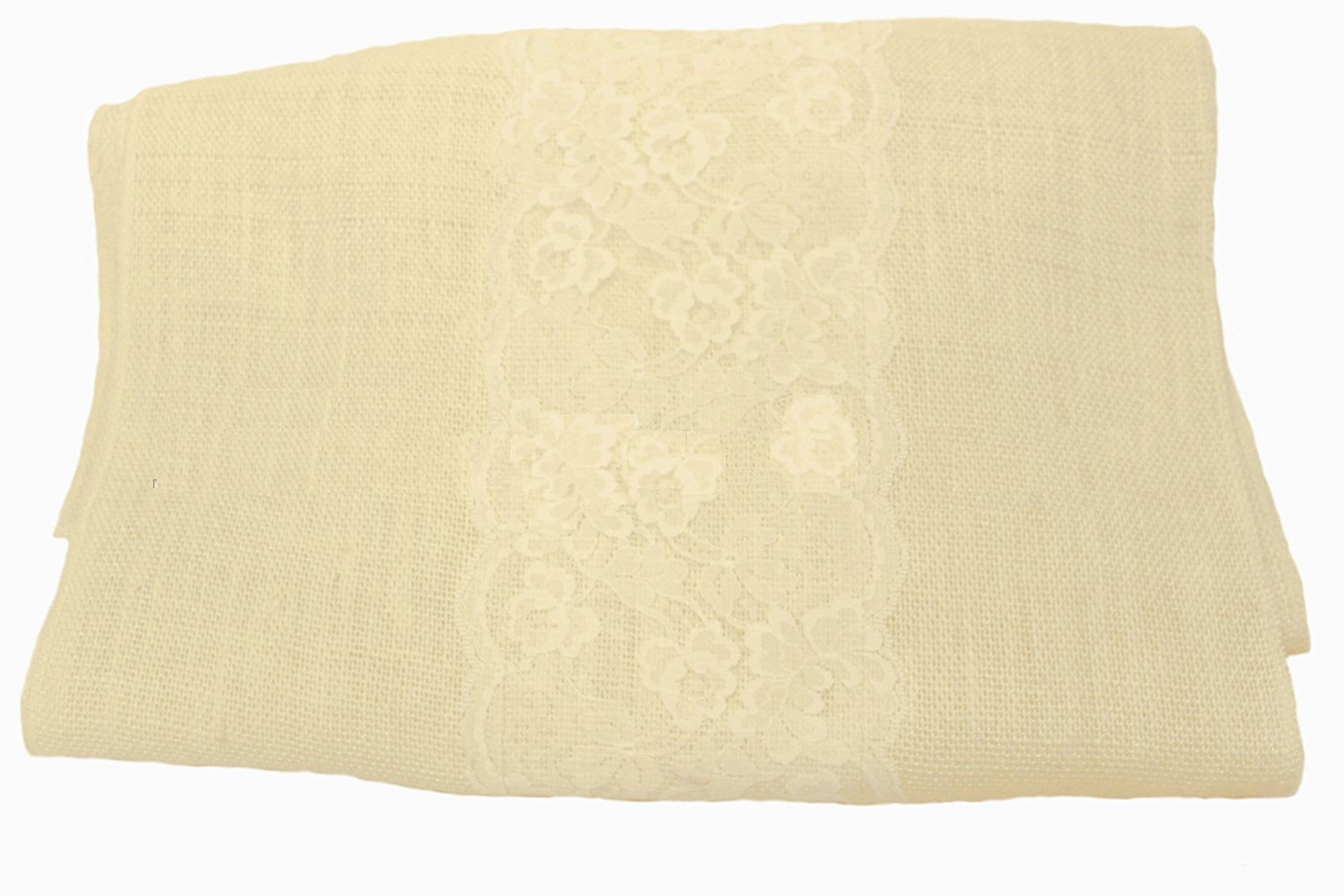 "14"" Off White Burlap Runner with 6"" Ivory Lace"