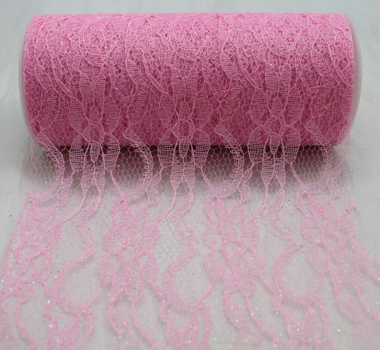 "Pink Sparkle Lace Ribbon - 6"" x 10 Yards"