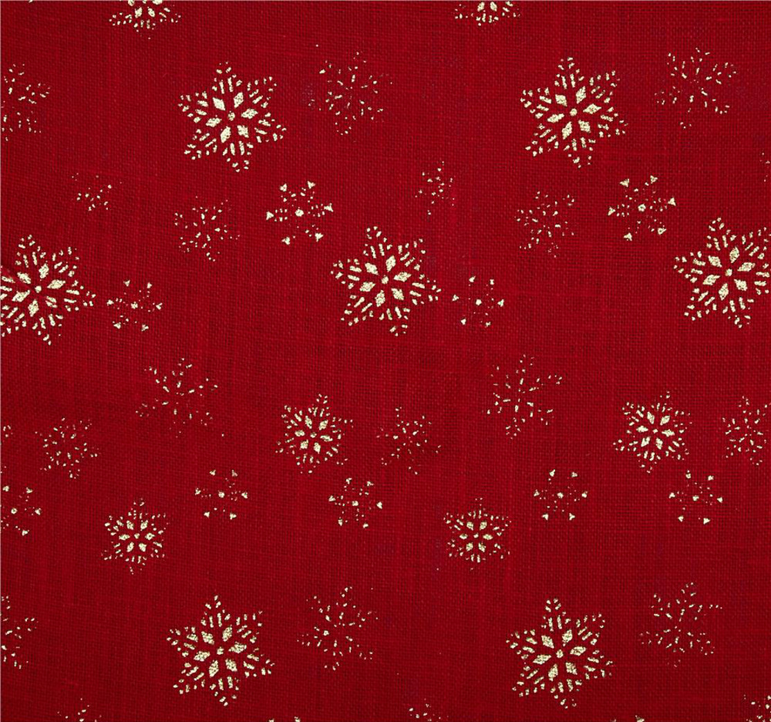 "Red SnowFlake Glitter Burlap 60"" wide by the Yard"