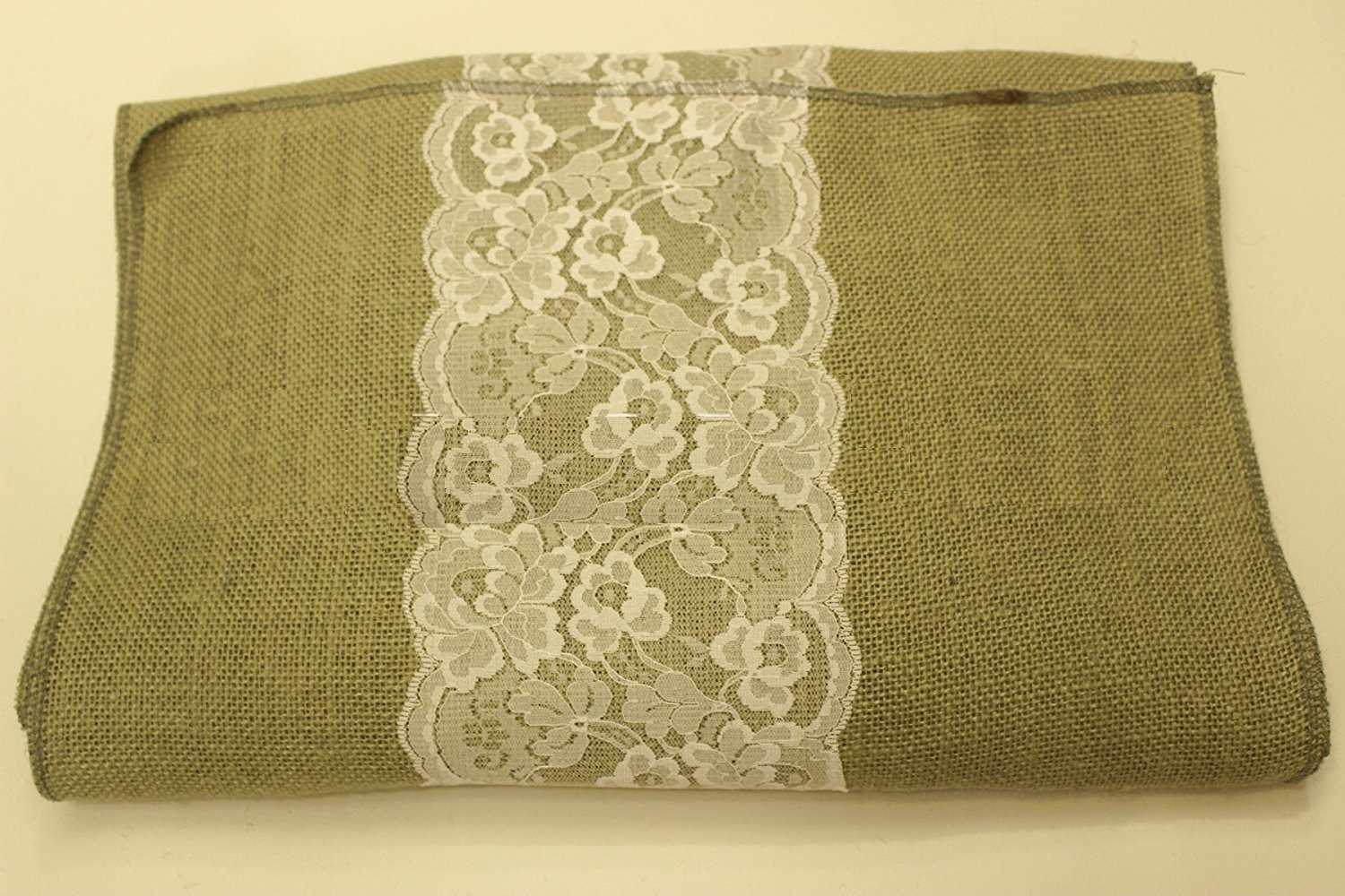"14"" Sage Burlap Runner with 6"" White Lace"