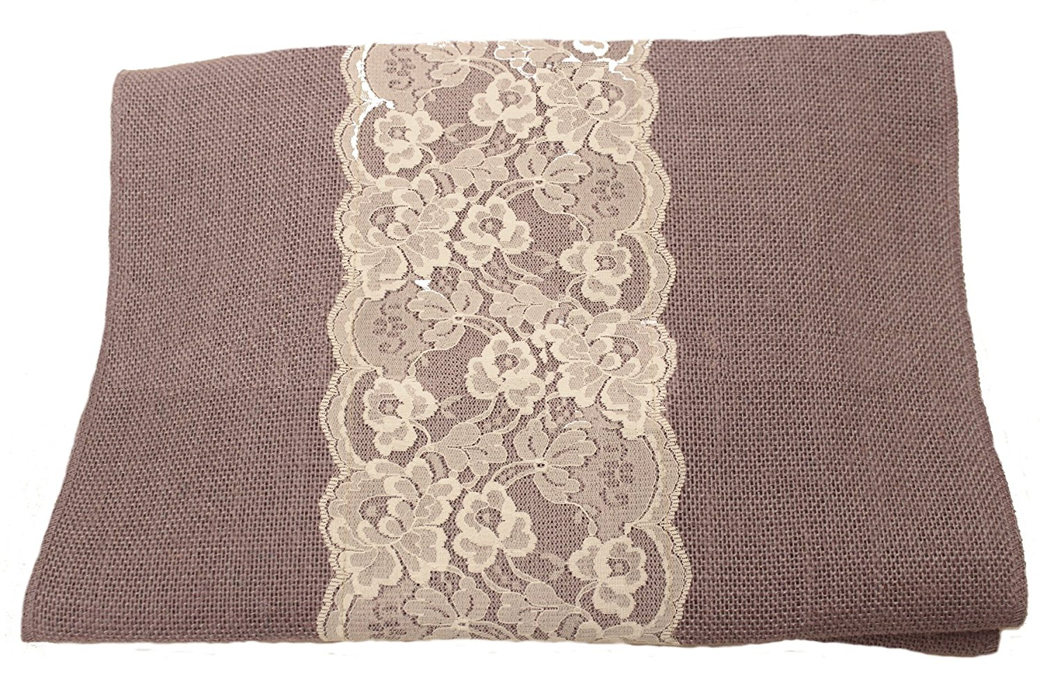 "14"" Violet Burlap Runner with 6"" White Lace"